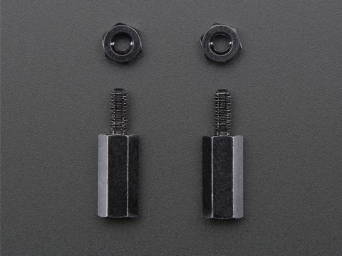 Brass M2.5 Standoffs for Pi HATs - Black Plated - Pack of 2