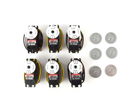 Combo Pack 6x HS-485HB with 6 Free Metal Servo Horns