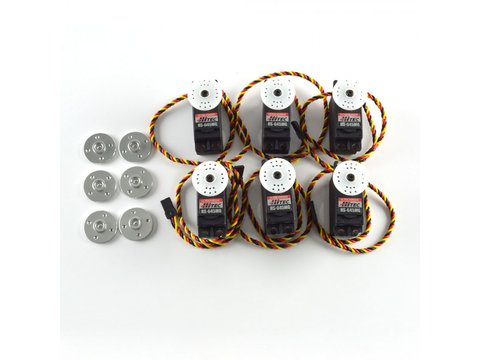 Combo Pack 6x HS-645MG with 6 Free Metal Servo Horns