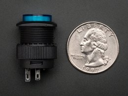 16mm illuminated pushbutton blue latching number 2