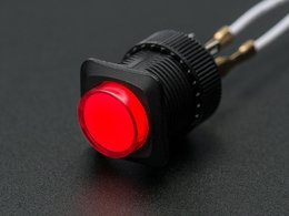 16mm Illuminated Pushbutton - Red Latching On/Off Switch
