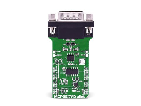 Mikroe MCP2517FD click - CAN FD Controller with ATA6563 is a High-Speed 5Mbit/s CAN Transceiver