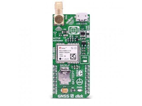 Mikroe GNSS 5 Click - NEO-M8N Global Navigation Satellite System Module w/ I2C / UART Interface