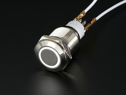Rugged Metal Pushbutton with White LED Ring - 16mm  Momentary Switch