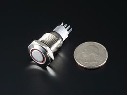 Rugged metal pushbutton with red led rin 9549408183