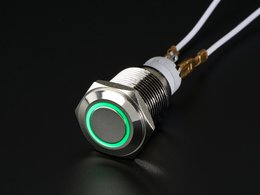Rugged Metal Pushbutton with Green LED Ring - 16mm Momentary Switch