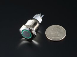 Rugged metal pushbutton with green led r 9950626202