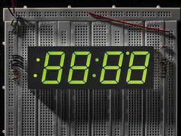 Green 7-segment clock display