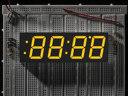 Yellow 7-segment clock display