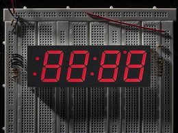 Red 7-segment clock display