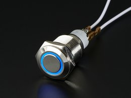 Rugged Metal On/Off Switch with Blue LED Ring - 16mm