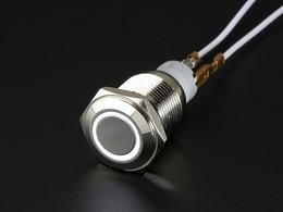 Rugged Metal On/Off Switch with White LED Ring - 16mm