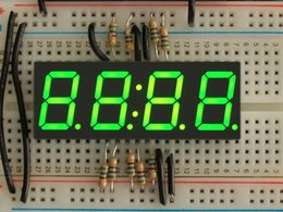 "Green 7-segment clock display - 0.56"" digit height"