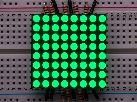"Small 1.2"" 8x8 Ultra Bright Pure Green LED Matrix - KWM-30881CPGB"