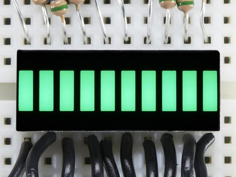 10 Segment Light Bar Graph LED Display - Pure Green - KWL-R1025PGB