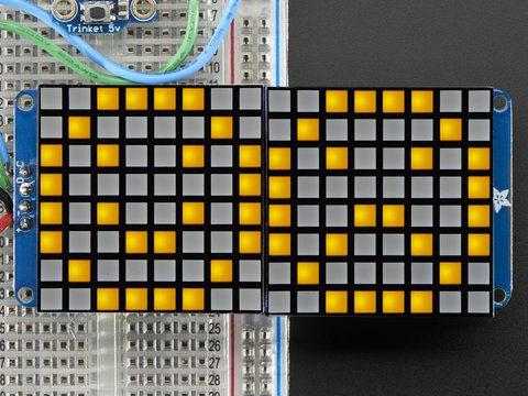 "16x8 1.2"" LED Matrix + Backpack -Ultra Bright Square Yellow LEDs"