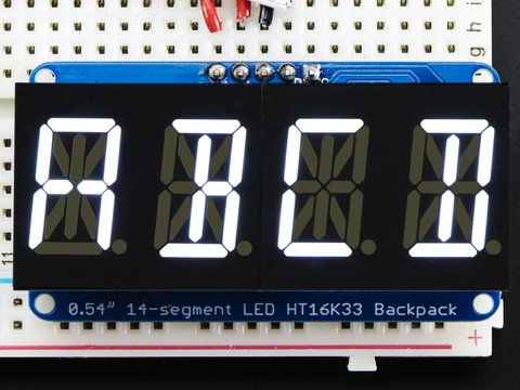"Quad Alphanumeric Display - White 0.54"" Digits w/ I2C Backpack"