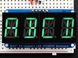 "Quad Alphanumeric Display - Pure Green 0.54"" Digits w/ Backpack"
