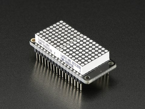 "Adafruit 0.8"" 8x16 LED Matrix FeatherWing Display Kit - Yellow"